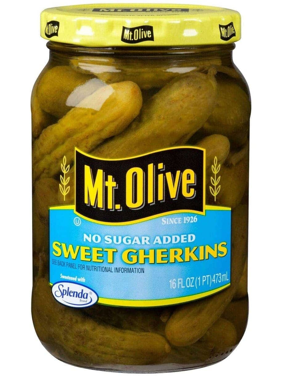 Mt. Olive No Sugar Added Sweet Gherkins Ingredients & Nutrition