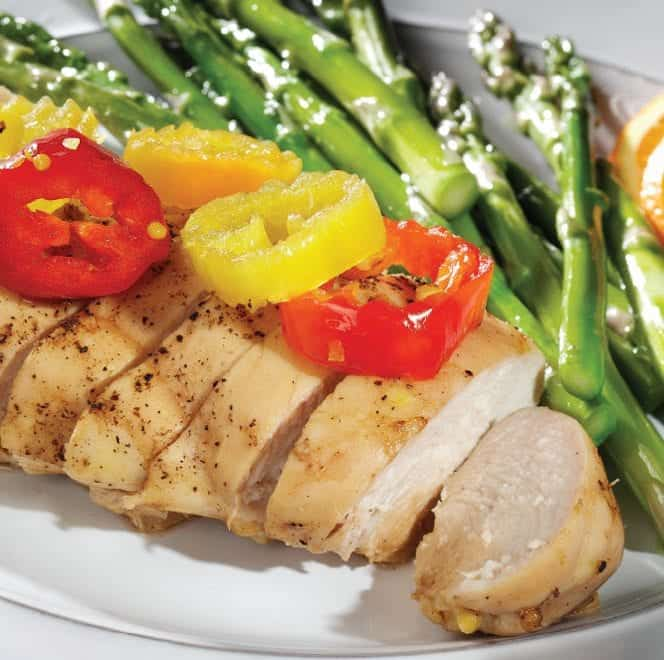 Mt. Olive Citrus Chicken with peppers and asparagus