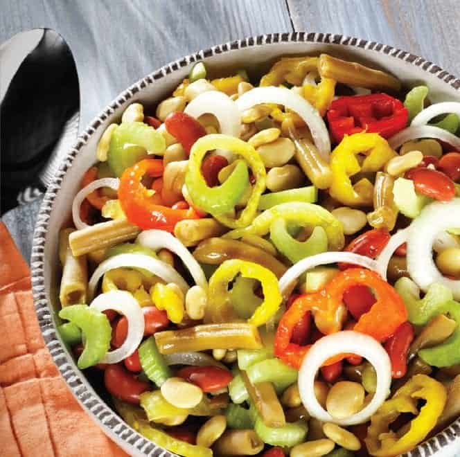 Zesty Colorful Bean Salad with Peppers in a large bowl