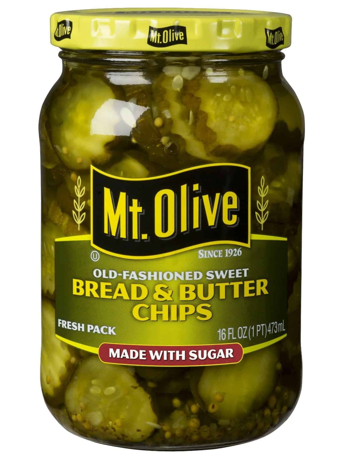 Mount Olive Bread and Butter Chips - Sliced sweet and salty pickles ready to use on your favorite sandwich or as a side dish.